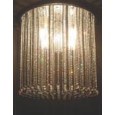 Lustre fontaine de lumière ronde à pampilles de cristal Swarovski