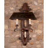 Applique en fer forgé avec abat-jour, fabrication artisanale