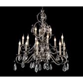 Superbe lustre style baroque à pampilles de cristal glacé