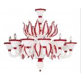 Lustre Murano design de fabrication artisanale, rehaussé de rouge