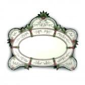 Magnifique miroir de Murano décoré et gravé à la main, de style vénitien du XVIIIème.