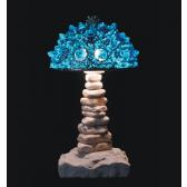 Lampe artisanale fabriquée à partir de verre recyclé, modèle turquoise