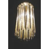 Fontaine de lumière ronde pampilles de cristal et aluminium, fabrication artisanale