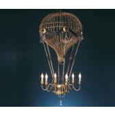 Lustre montgolfière géante en fer forgé et pampilles de cristal