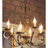 Lustre en fer forgé artisanal doré à l'or fin à l'ancienne