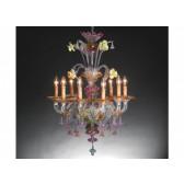 Lustre artisanal de Murano de type floréal en verre artisanal de Venise