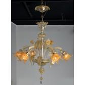 Lustre floréal de Murano, verre de Venise rehaussé d'or