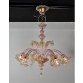 Lustre baroque de Murano, violine et or, verre soufflé de Venise