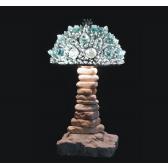 Lampe artisanale fabriquée à partir de verre recyclé, modèle aigue-marine et glace
