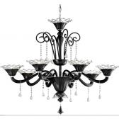 Lustre à 8 bras de lumière en verre artisanal de Venise soufflé