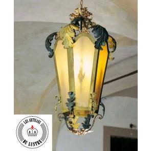 Lanterne artisanale traditionnelle florentine, patinée et dorée à la feuille
