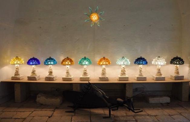 Luminaires en verre coloré recyclé