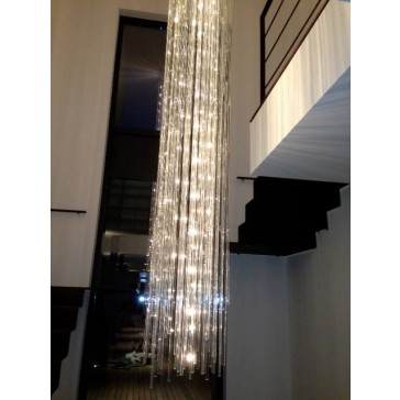 Lustre fontaine de lumières à plaques de verre, lustre écologique!