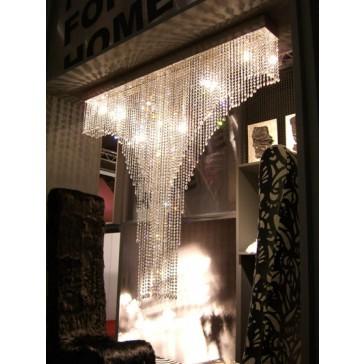 Paroi lumineuse en pampilles, lustre en fontaine de lumière