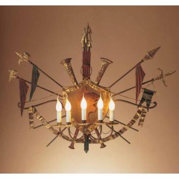 Applique style médiévale, aux armes en fer forgé florentin doré à la feuille