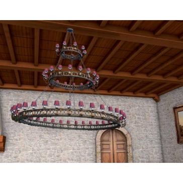Lustre de style médiéval, fabrication artisanale en fer forgé