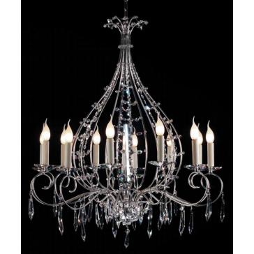Sublime lustre à pendoloques de cristal taillé et couteau de cristal central