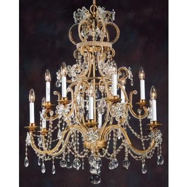 Lustre baroque à pampilles de cristal, en forme de couronne