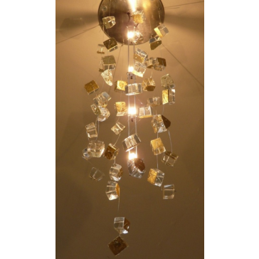 Fontaine de lumière à cubes de verre dorés à la feuille, lustre écologique