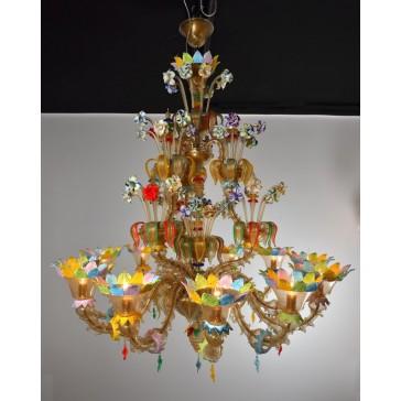 Lustre exceptionnel en verre soufflé de Murano, avec fleurs de toutes les couleurs