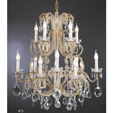 Magnifique lustre de style baroque à pampilles de cristal