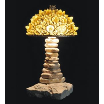 Lampe artisanale fabriquée à partir de verre recyclé, modèle jaune