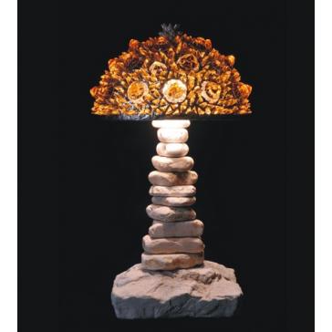 Lampe artisanale fabriquée à partir de verre recyclé, modèle or