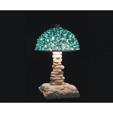 Lampe artisanale fabriquée à partir de verre recyclé, modèle vert et glace