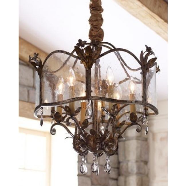 reproduction de lanterne ancienne fer forg pampilles et verre artisanal de venise murano. Black Bedroom Furniture Sets. Home Design Ideas