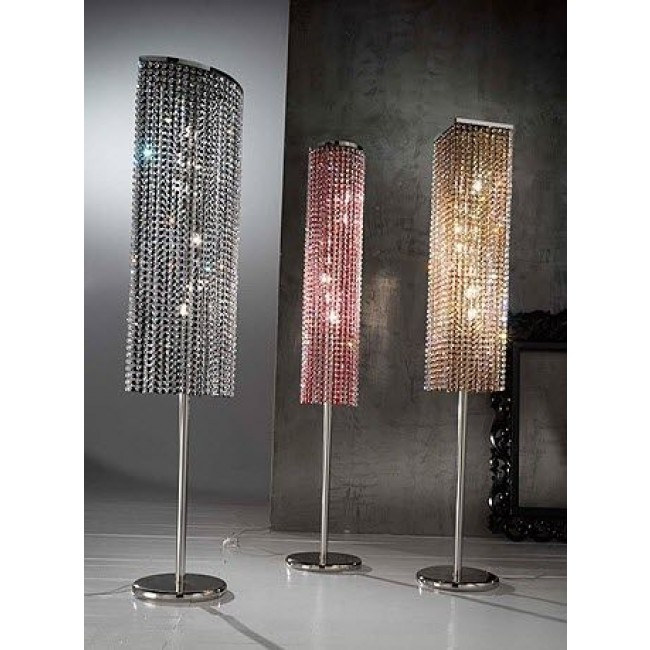 fontaine de lumi re sur pied chrom en cristal de swarovski lampes sur pied luminaire. Black Bedroom Furniture Sets. Home Design Ideas