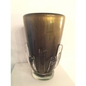 Vase artisanal en verre artisanal de Murano rehaussé d'or