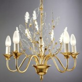 Lustre baroque à  feuilles de verre taillé, châssis doré