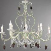 Lustre baroque revisité à chapelets de perles de verre de couleur et grappes de raisin en verre de Murano