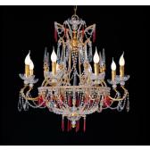 Mongolfière baroque à poignards de cristal et pampilles de couleur