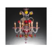 Lustre artisanal de Murano de type floréal à fleurs de couleurs en verre soufflé