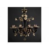 Lustre baroque noir et or en verre soufflé de Murano, travail artisanal de Venise