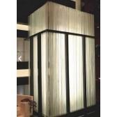Lampe  ou plafonnier en accumulation de plaques de verre recyclé, fabrication artisanale sur mesure