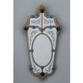 Magnifique miroir vénitien artisanal rehaussé de fleurs bleues