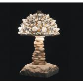Lampe artisanale fabriquée à partir de verre recyclé, modèle ambre et glace