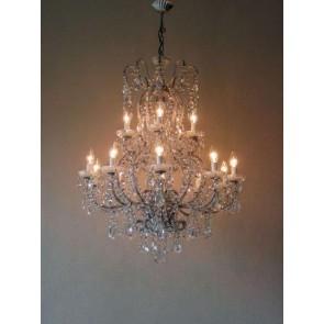Superbe lustre artisanal à 15 lumières sur 2 niveaux , très beau drapé de pampilles
