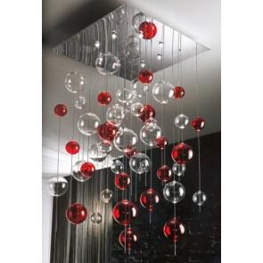 Fontaine de lumière à boules de verre soufflé de Murano