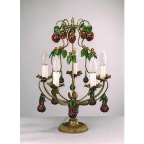 Lustre de table, girandole à pampilles en verre de Murano: forme de fruits