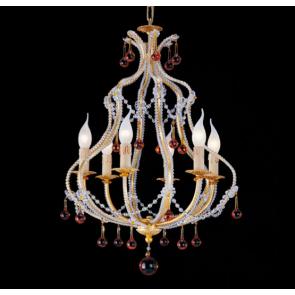 Superbe lustre cage d'inspiration baroque à pampilles de verre coloré de Murano