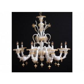 Exceptionnel lustre artisanal de Murano blanc rehaussé d'or,