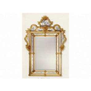 Miroir traditionnel vénitien de style baroque à parecloses.