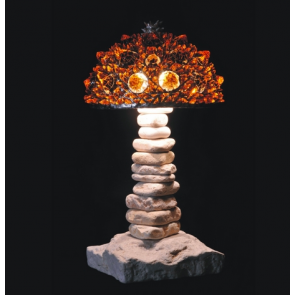 Lampe artisanale fabriquée à partir de verre recyclé, modèle ambre foncé