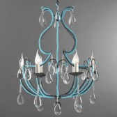 Baroque chandelier revisited with strings of turquoise pearls of Murano glass