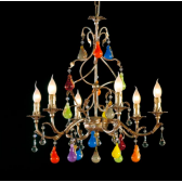 Incredibible  baroque chandelier with colored Murano glass fruits