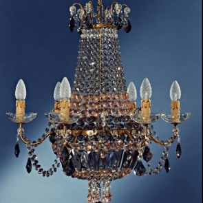 Empire style chandelier with gray drops, hand made