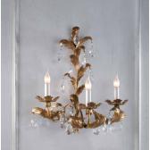 Applique artisanale dorée à la feuille et pendeloques de cristal